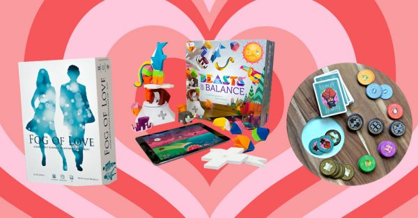board games and tabletop games to play on valentines day, including Fog of Love, Beasts of Balance, and Jaipur