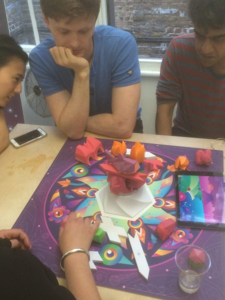 Beasts of Balance stacking game being played at an event in London