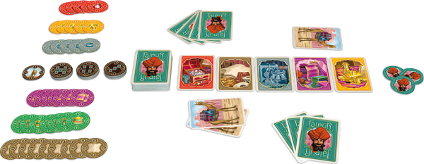 Japiur the two player card game, laid out with tokens