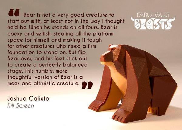 """flip Bear over and his feet create a perfectly balanced stage"" - Joshua Calixto from Kill Screen on the Bear stacking piece from Beasts of Balance"