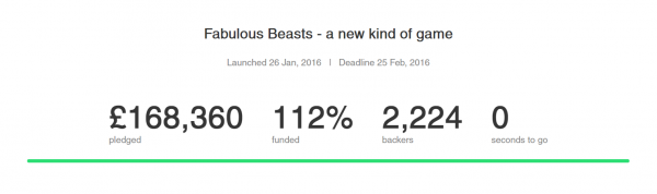 Beasts of Balance stacking game Kickstarter totals when campaign ended