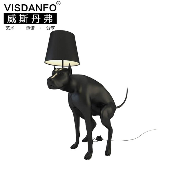 A lamp in the shape of a dog doing a poop. Yes, really.