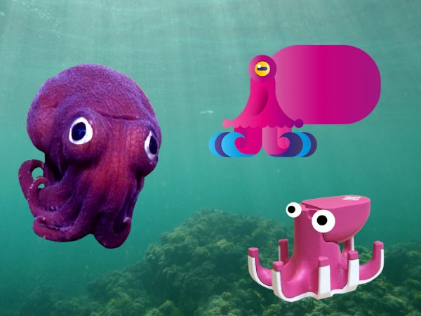 A real octopus, a Beasts of Balance octopus game piece, a Beasts of Balance digital octopus