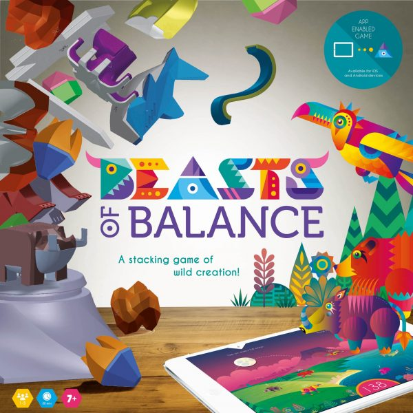 Image from the top of the Beasts of Balance stacking game box