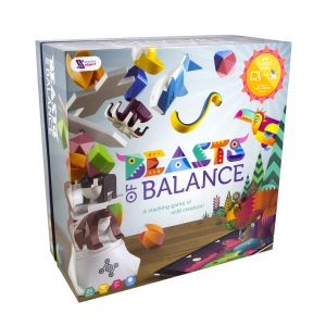 The Beasts of Balance box artwork combines the physical stacking game pieces and the digital artwork
