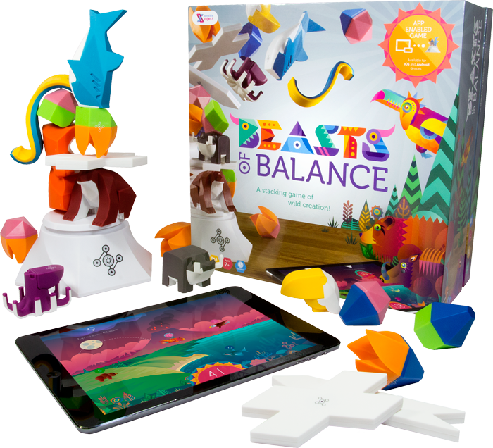 A photo of the Beasts of Balance box, game pieces and app
