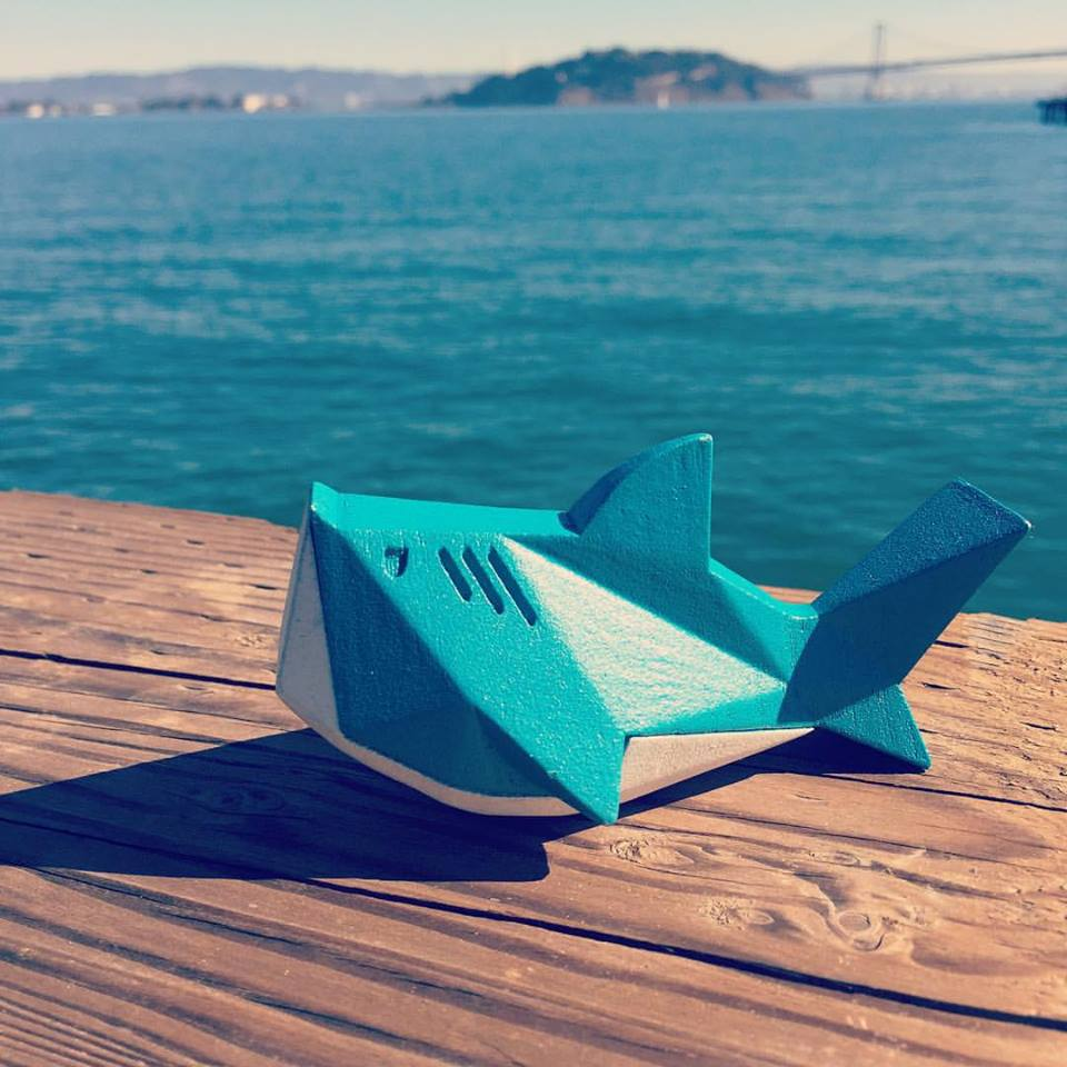 Shark from Beasts of Balance tabletop stacking game sunning himself in San Francisco