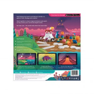 The back of the Beasts of Balance stacking game box, showing gameplay and key features