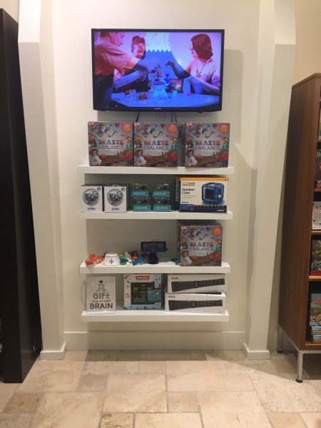 An in-store display for the Beasts of Balance stacking game 2