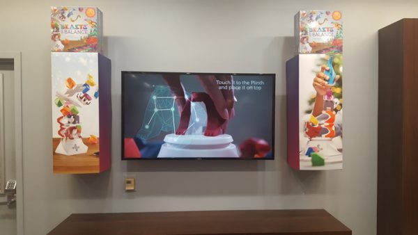 An in-store display for the Beasts of Balance stacking game 3