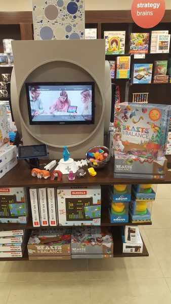 An in-store display for the Beasts of Balance stacking game 4