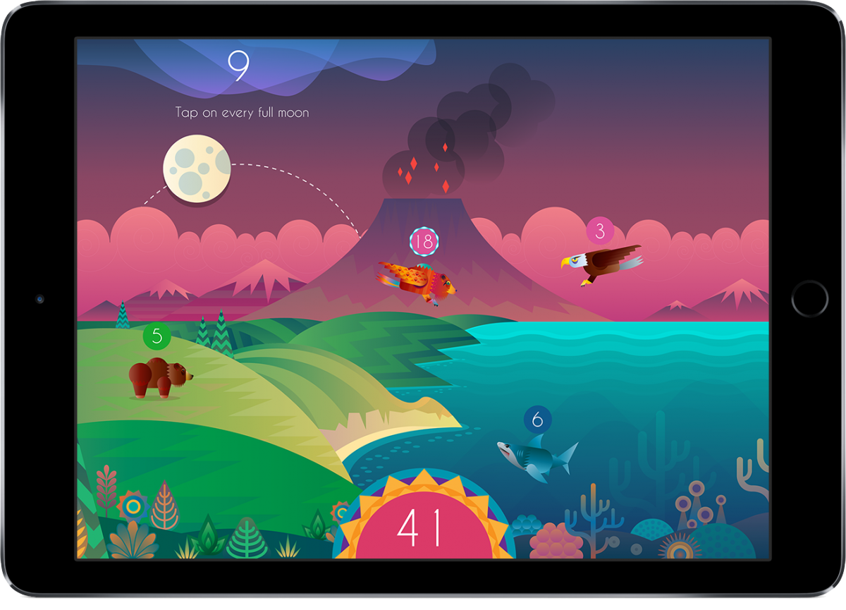 A screenshot from a tablet of the Beasts of Balance app showing animals in each biome