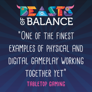 """Fine example of physical/digital gameplay working together"" Tabletop Gaming Beasts of Balance stacking game review"