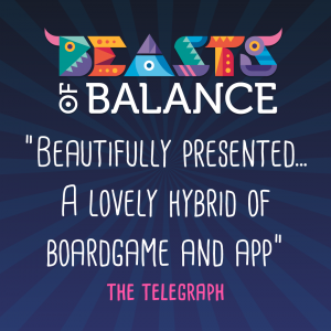 """Beautifully presented...a lovely hybrid of boardgame and app"" The Telegraph Beasts of Balance stacking game review"